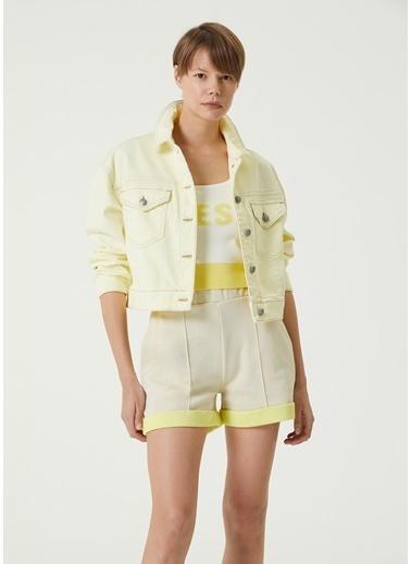 Beymen Club 101589304 Polo Yaka Uzun Kol Cepli Düğme Kapatmalı Kontrast Dikişli Kadın Denim Ceket Sarı